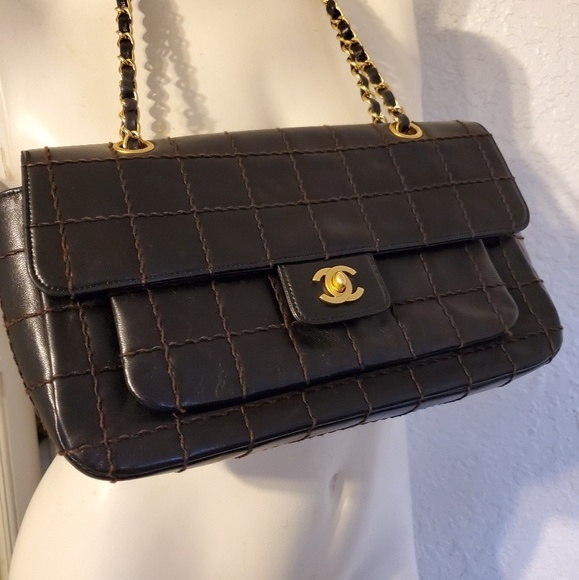 CHANEL Handbags - Authentic Chanel Chocolate Bar Quilted Flap Bag